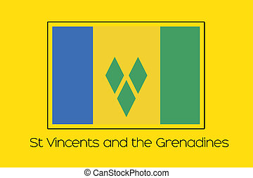Flag Illustration of the country of Saint Vincents and the...