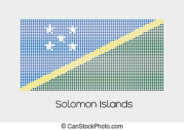 Mosaic Flag Illustration of the country of Solomon Islands -...