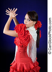 Spanish flamenco - Young Spanish flamenco dancer in full...