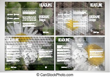 Vector set of tri-fold brochure design template on both sides with world globe element. White flowers in the grass. Abstract multicolored backgrounds. Natural geometrical patterns. Triangular and hexagonal style
