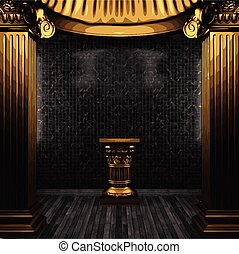 vector bronze columns, pedestal and tile wall