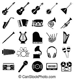 Music icons set for web and mobile device