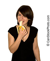 Banana - The girl in a black dress with a banana in a hand