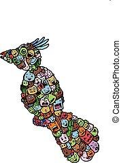 bird doodle cartoon - hand drawing