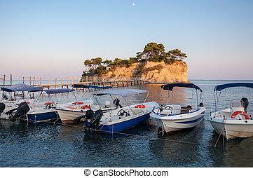 Barcos, em, Camafeu, ilha, Zakynthos, Grécia,