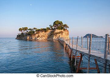 ponte, Camafeu,  Zakynthos, ilha, Grécia, pôr do sol