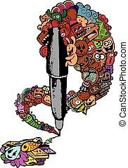 pen doodle illustration - vector illustration of pen doodle