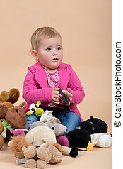one year baby portrait - portrait of young cute baby on...