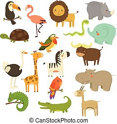 Cute Woodland and Jungle Animals Vector Set - Nice Woodland...