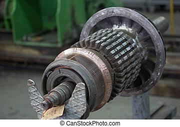 Stator of a big electric motor repair factory