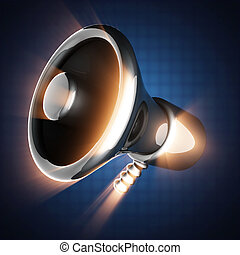 metallic cartoon megaphone on blue background