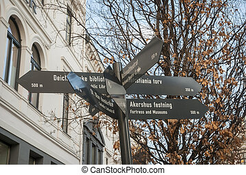 Tourist attraction marker in the center of Oslo, Norway -...