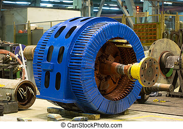 Stator of a big electric motor. repair factory