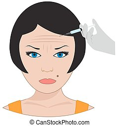 surgery of forehead wrinkles. - vector botox treatment....