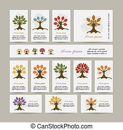 Set of cards with season trees for your design
