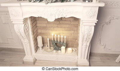 Christmas decoration white fireplace - christmas decoration...