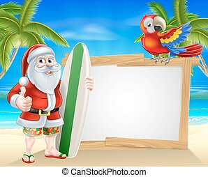 Santa tropical beach sign - Cartoon of Santa Claus holding a...