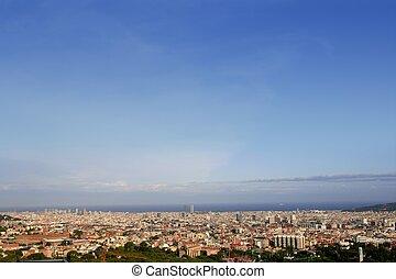 Barcelona skyline horizon from Tibidabo - Barcelona skyline...