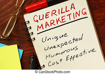guerilla marketing - Notepad with guerilla marketing on the...