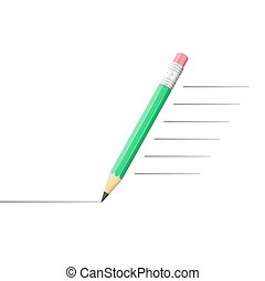 Pencil drawing a line, speedy draw concept, 3d vector...