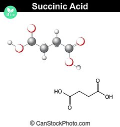 Succinic acid molecule, succinate, structural chemical...
