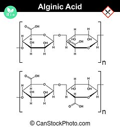 Alginic acid molecular structure, food additive E401 - E404,...