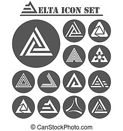 Delta letter icons set, 13 signs on dark round plates, 2d...