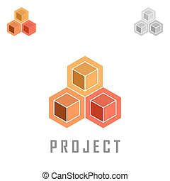 Three cubic shape icons, project concept, isometric vector...