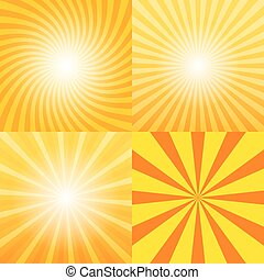 Sunray background set, 2d vector illustration, design...