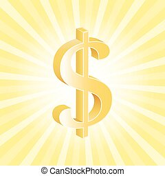 US Dollar 3d currency - U.S. Dollar 3d currency on sunray...