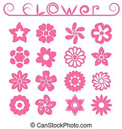 Flower ornaments set, 16 floral icons, pink color, 2d vector...