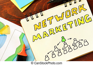 network marketing - Notepad with network marketing on the...