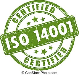 Iso 14001 certified stamp isolated on white background