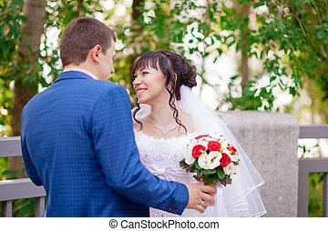bello, coppia, matrimonio, natura