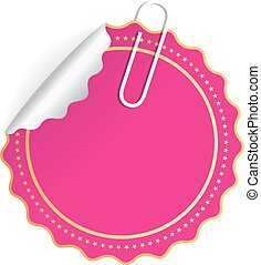 Blank pink round sticker isolated on white background