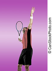 Tennis Player. - Tennis player with a pink shirt, playing on...
