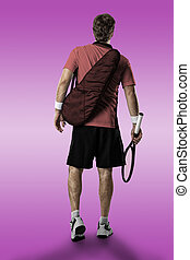 Tennis Player. - Tennis player with a pink shirt, walking on...