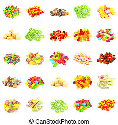 Background of Colorful Candy of Assorted Types Isolated