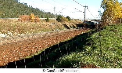 Freight train in the land transport - Railroad and train as...