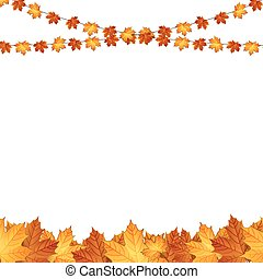 Autumn background with maple leaves. Vector Image.