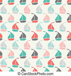 Sailboat shape seamless pattern illustration for marine...