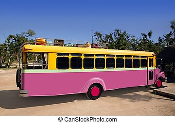 Colorful bus yellow and pink touristic tropical vehicle