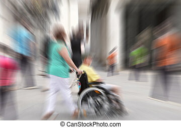 Abstract background . A disabled person in a wheelchair on a...