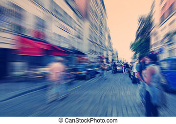 Abstract background Boulevard Montmartre in Paris - radial...