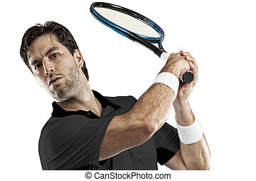 Tennis Player - Tennis player with a black shirt, playing on...