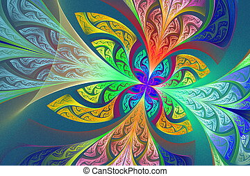 Multicolored Fractal flower or butterfly background in...