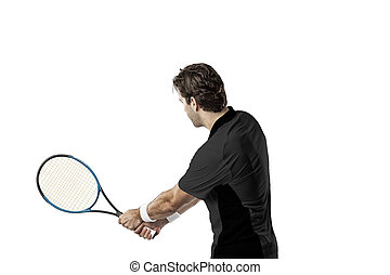 Tennis Player. - Tennis player with a black shirt, playing...