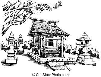 japanese shrine - Free hand sketch japanese shrine