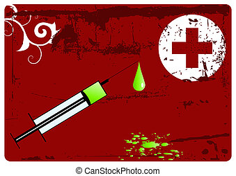 First aid - Grunge vector background - big syringe with drip...