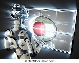 cyborg woman and artificial insemination on hologram display